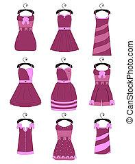 set, di, femmina, vestiti