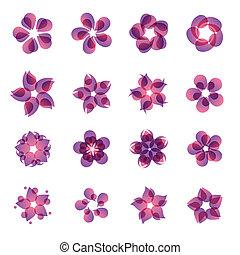 set, di, fiore, icone