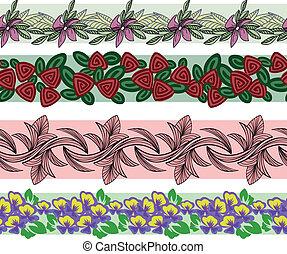 set, di, floreale, ornamento