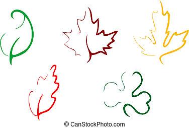 set, di, foglie, icone