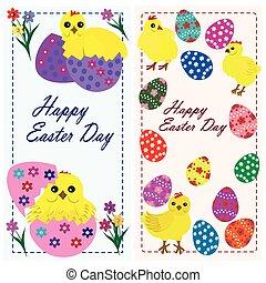 set, di, fondo, illustrazione, uova pasqua, pulcini