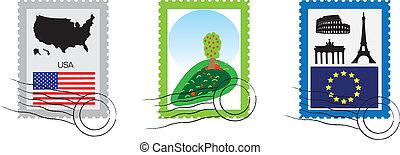 set, di, francobolli