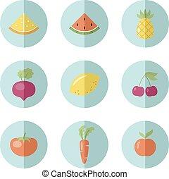 set, di, frutta, e, verdura, icone
