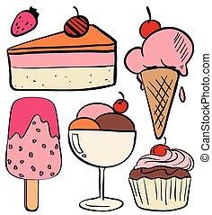 set, di, gelato, e, torte
