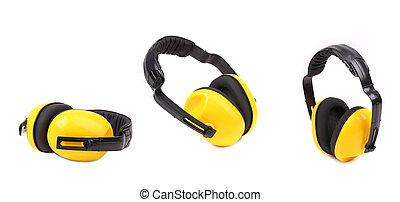 set, di, giallo, protettivo, orecchio, manicotti