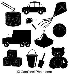 set, di, giocattoli, silhouette, 1
