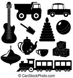 set, di, giocattoli, silhouette, 2