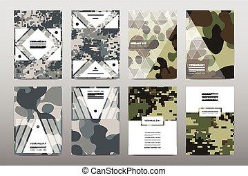 set, di, giorno veterani, opuscolo, manifesto, mascherine,...