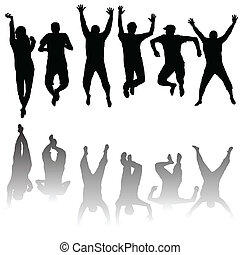 set, di, giovani persone, silhouette, saltare