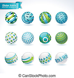 set, di, globo, icone