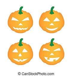 Immagine Zucca Di Halloween 94.Arancia Set Halloween Gesticulating Zucche Vettore Set