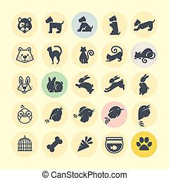set, di, icone animali