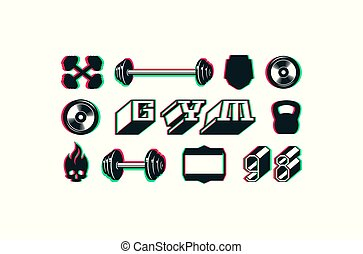 set, di, icone, e, tesserati magnetici, per, palestra, club
