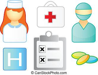 set, di, icone mediche