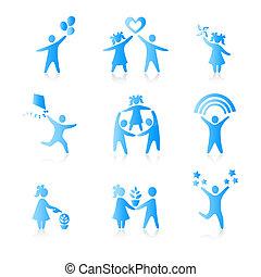 set, di, icone, -, silhouette, family., donna, uomo, capretto, bambino, ragazzo, ragazza, padre, madre, genitori, simbolo., persone, vector.