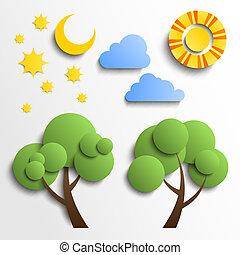 set, di, icons., carta, taglio, design., sole, luna, stelle, albero, nubi