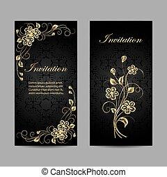 set, di, invito, cartelle, design.