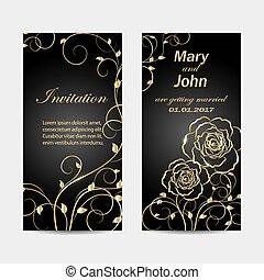 set, di, invito matrimonio, cartelle, design.
