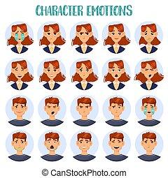 set, di, isolato, cartone animato, persone, testa, con, emozioni