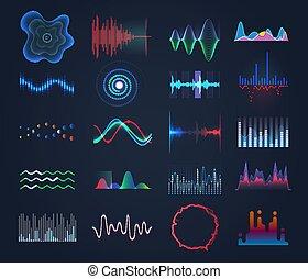 set, di, isolato, futuristico, musica, suono, equalizzatore
