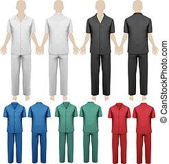 set, di, lavoro, overalls., disegno, template., vettore,...