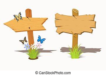 set, di, legno, cartello