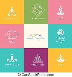 set, di, logos, per, uno, studio yoga
