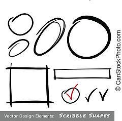 set, di, mano, disegnato, scarabocchio, forme