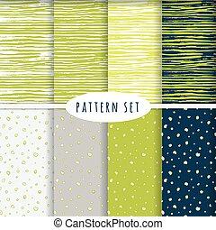 set, di, mano, disegnato, seamless, patterns.