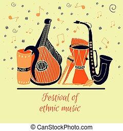 set, di, mano, disegnato, tradizionale, slavo, ucraino, musicale, instruments.