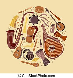 set, di, mano, disegnato, tradizionale, slavo, ucraino, strumenti musicali, in, circle.
