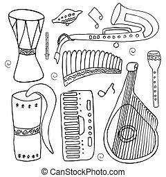 set, di, mano, disegnato, tradizionale, slavo, ucraino, strumenti musicali, isolato, su, uno, bianco, fondo.