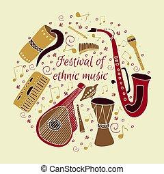 set, di, mano, disegnato, tradizionale, slavo, ucraino, strumenti musicali, su, uno, beige, fondo.