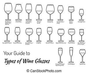 set, di, mano, disegnato, vetri vino, isolato, bianco,...