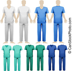 set, di, medico, overalls., disegno, template., vettore,...