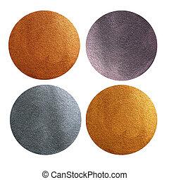 set, di, metallo, sfondi, -, oro, argento, bronzo, e, brass., disegnato, cerchi, e, isolato, bianco, fondo.