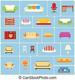 mobilia arredamento icone set icone vettore