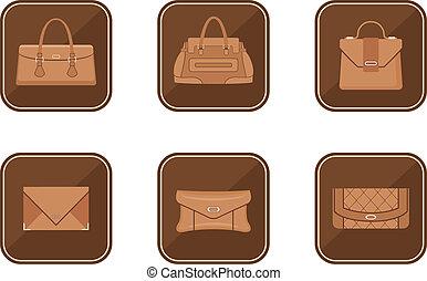 set, di, moda, icone, con, borse
