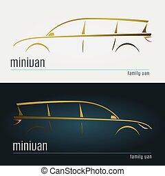 set, di, moderno, minivan, silhouettes.