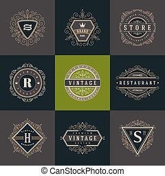 set, di, monogram, logotipo, sagoma