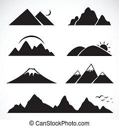 set, di, montagna, icone