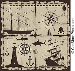 set, di, nautico, disegni elementi