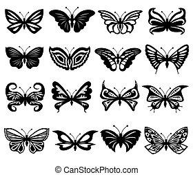 set, di, nero bianco, farfalle