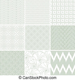 set, di, nove, astratto, geometrico, seamless, patterns.