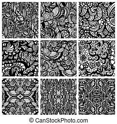 set, di, nove, hand-drawn, seamless, modelli