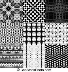 set, di, nove, nero bianco, geometrico, modelli