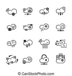set, di, nuvola, icone