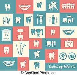 set, di, odontoiatria, simboli, parte, 2