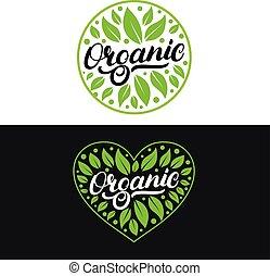 set, di, organico, mano scritta, iscrizione, logotipo, etichetta, badge.