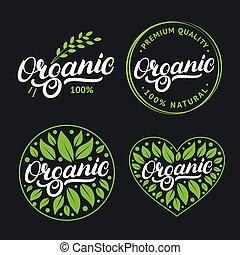set, di, organico, mano scritta, iscrizione, logotipo, etichetta, distintivo, emblema, con, fresco, luminoso, green.